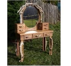 Rustic Vanity Mirror Hand Crafted Hobbit Rustic Dressing Table Vanity Desk With Oval