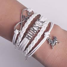 bracelet infinity love images Handmade leather infinity love horse charm bracelet fashion jpg