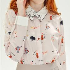 cat blouse 2016 fashion neko atsume cat embroidery collar blouse