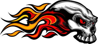 flaming skull graphic image stock vector illustration of