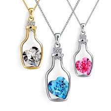 crystal love heart necklace images Korean women 39 s crystal love heart in a drift bottle pendant jpg