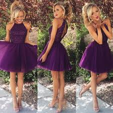purple short beading backless halter homecoming dresses