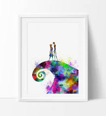 the nightmare before print watercolor poster