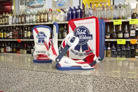 ribbon shop union x pabst blue ribbon snowboard bindings 2018 now available