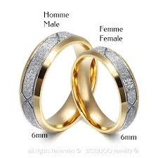 alliances homme alliance bague anneau doré à l or fin acier inoxydable brillante