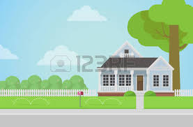 Backyard Cartoon Flat Style Countryside Family House With Backyard Lawn Concept