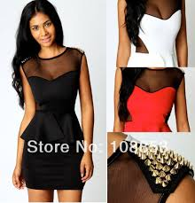 Cheap Plus Size Junior Clothing New Gold Studs Rivets Peplum Dress Plus Size Casual Novelty