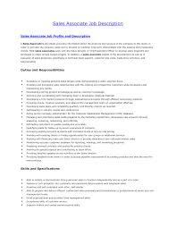 Resume For Sales Associate Sales Associate Description For Resume Free Resume Example And