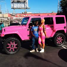 pink jeep rubicon amber rose turns her off roader into barbie s pink jeep wrangler