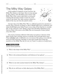 the milky way galaxy 7th 9th grade worksheet lesson planet