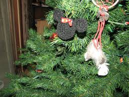three strands together mickey and minnie mouse christmas ornament
