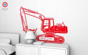 excavator digger xl wall decal nursery kids rooms wall decals excavator digger kids wall decals xl