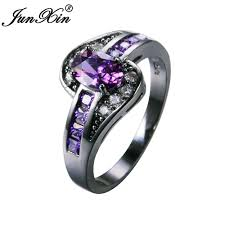 black fashion rings images Junxin female purple oval ring fashion white black gold filled jpg