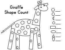 animal shape count giraffe elephant ostrich hippo peacock