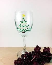 christmas wine glass holiday wine glasses painted wine glasses