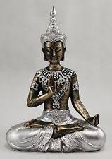 silver buddha statue ebay