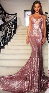 gorgeous mermaid long rose pink prom dresses sequins spaghetti