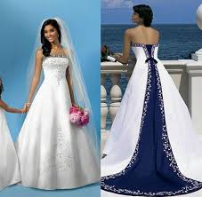 Satin Wedding Dresses Discount White And Blue A Line Satin Wedding Dresses Arabian