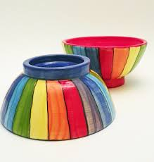 Rainbow Home Decor by Ceramic Bowls Rainbow Striped Two Stoneware Handmade Made To Order