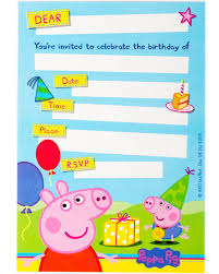 peppa pig party peppa pig party invitations pack of 8 party supplies