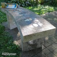 stone inlay concrete bench concrete bench concrete and bench