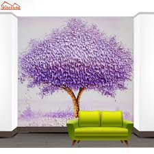 shinehome modern fantasy purple tree painting background walls