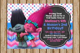 trolls birthday invitations trolls birthday party poppy and