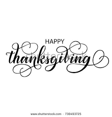 happy thanksgiving fancy brush lettering stock vector