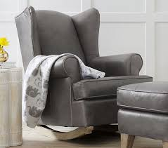 Gray Leather Ottoman Leather Wingback Convertible Rocker U0026 Ottoman Pottery Barn Kids