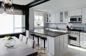 White Kitchen Cabinets With Black Island by Decorations Contemporary White Modern Kitchen With Large Island