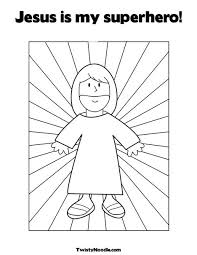 jesus super hero colouring pages sunday