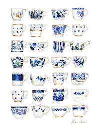 antique china pattern blue and white antique teacups print tea cup watercolor