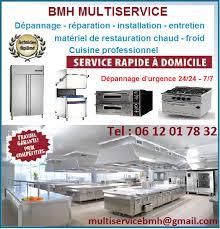 depannage cuisine professionnelle bmh multiservice ile de réparation matériel de restauration