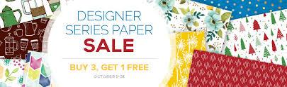 sale buy 3 get 1 free designer series paper ends october 31