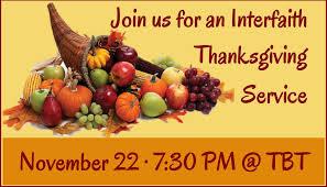 interfaith thanksgiving temple b nai torah
