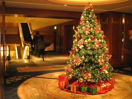 christmas trees decorated wallpaper