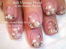 easy wedding nails white flower nail art design tutorial youtube