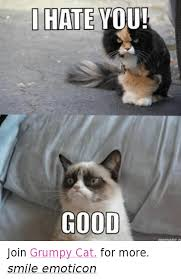 Grumpy Cat Meme Good - i hate you good join grumpy cat for more smile emoticon cats meme