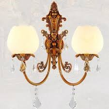 Sconce Lights 2 Light Refined Copper Crystal Wall Sconce Lights