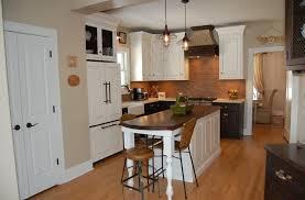 kitchen cherry wood kitchen island brick backsplash in hardwood