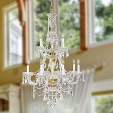 Crystal And Gold Chandelier 12 Light Gold Finish And Clear Crystal Chandelier Two 2 Tier