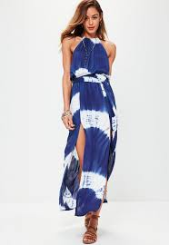maxi dresses tie dye 90 s neck maxi dress blue missguided ireland