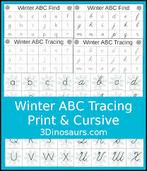 fun winter themed abc tracing for print u0026 cursive 3 dinosaurs