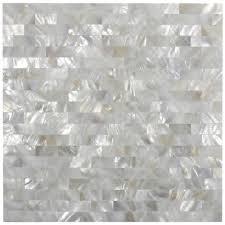 white brick groutless mother of pearl shell tile for backsplashes