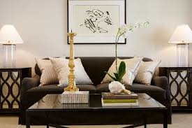 Dark Brown Sofa by Dark Brown Sofa Table With Gray Glass Lamps Transitional