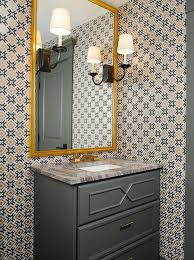 gold and gray powder room with hicksonian bronze charcoal