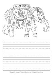 printable animal lined paper elephant story paper
