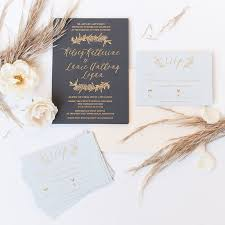 Foil Wedding Invitations Foil Greenery Invitations Paper Rock Scissor