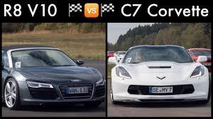 corvette vs audi r8 drag race audi r8 v10 spyder vs corvette stingray c7