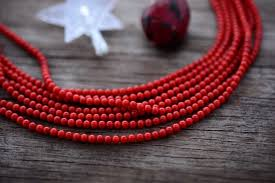 red coral bead necklace images Deep red 3 5mm coral beads 16 quot strand with 166 beads nature beads jpg